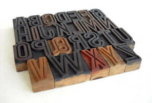 A To Z Alphabets Vintage Letterpress Wood Type Collection Wooden Blocks Vg02
