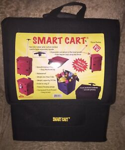Collapsible Folding Rolling Smart Cart With Wheels For Groceries Shopping Black