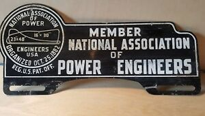 Vintage National Association Of Power Engineers Tag Topper License Plate Tag