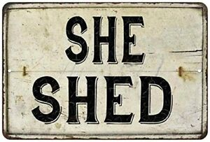Chico Creek Signs She Shed Vintage Look Chic Distressed 8x12 Metal Sign