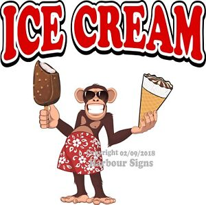 Ice Cream Decal choose Your Size Monkey Concession Food Truck Vinyl Sticker