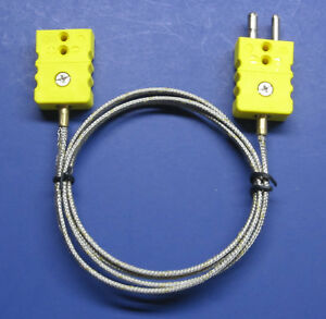 Industrial K type Thermocouple Extension Cable Wire W Standard Connector 3 18 Ft
