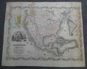 1849 Colton Map United States C Mail Steam Packets To California Gold Regions