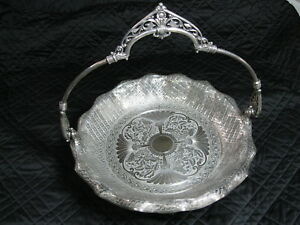 James W Tufts Silverplate Brides Basket Handled Footed Cake Plate Victori