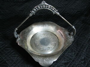 James W Tufts Silverplate Brides Basket Handled Footed Cake Plate Victorian