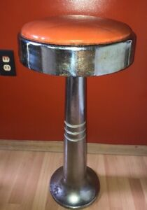 Vintage Art Deco Orange Chrome Original Soda Fountain Diner Bar Swival Stools