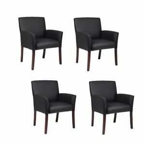 set Of 4 Office Guest Chair In Black And Mahogany