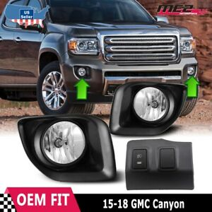 For Gmc Canyon 15 18 Factory Bumper Oe Fit Fog Lights Wiring Kit Clear Lens