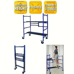Rolling Scaffold Ladder Platform 500 Lb Load Capacity Work Bench Indoor Folding