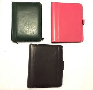 Lot Of 3 Leather Franklin Covey Planners Pink Green Chocolate Brown