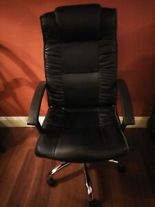 Pu Leather High Back Office Chair Executive Task Ergonomic Computer Desk Black