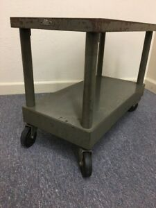 Vintage Remington Rand Industrial Metal Cart Wheeled Table Stand End Steampunk