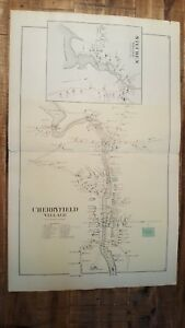 Antique Colored Map Of Cherryfield Village Maine George N Colby