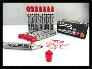 Box Of 12 Vintage Red Sharpie Marker By Sanford New Potent Nos King Size