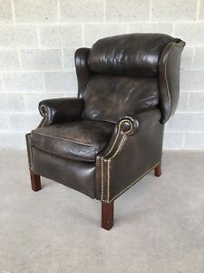 A Hancock Moore Brown Leather Recliner Lounge Chair W Brass Nailhead Accents