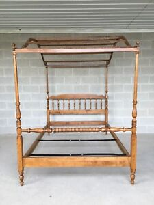 Ethan Allen Nutmeg Maple Double Canopy Spindle Poster Bed Model10 5631 211
