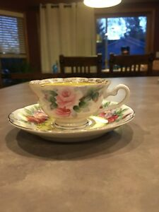 Small Demitasse Tea Cup Saucer Hand Painted Ok Japan Floral Yellow