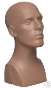 15 Tall Male Mannequin Head Durable Plastic Flesh 50013