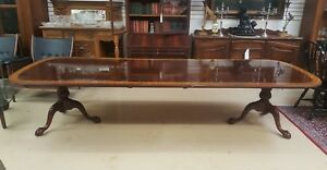 Councill Craftsmen Mahogany Satin Wood Banded Double Pedestal Dining Table 134 W