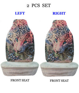 Car Truck 2 piece Set Sublimation Design High Back Front Seat Covers 1066 gray