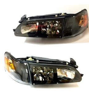Fit For 93 97 Toyota Corolla Jdm Black Crystal Headlights Lamps Lh Rh Headlamps