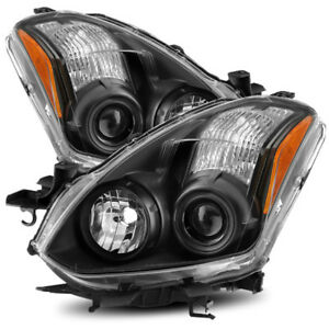 For 2010 2013 Nissan Altima Coupe Halogen Model Lh Rh Black Projector Headlights