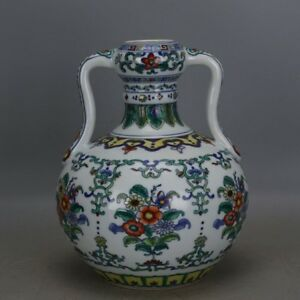 Chinese Old Marked Doucai Colored Flowers Pattern Porcelain Ru Yi Zun Vase