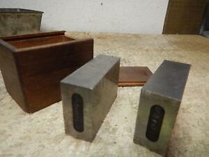 Vintage Machinist 1 2 3 Blocks In Fitted Wooden Box Jig Fixture Tooling