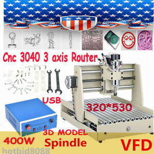 Usb Cnc Router 3040 400w 3 Axis Engraver Engraving Milling Machine Desktop Fast