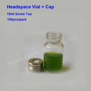 100x 10ml Screw Top Gas Chromatography Bottle Gc Headspace Sample Vial cap
