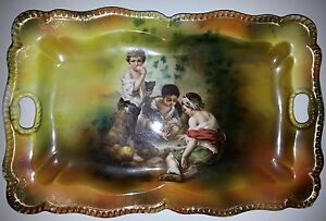 Antique RS Prussia China Dice Players Tray Gilded Trim 11 38