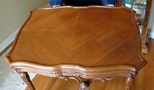 Beautiful Vintage French Provincial Carved Walnut Table 1930 40s Side End