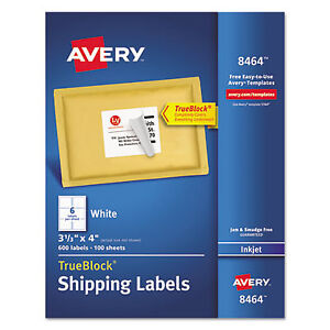 Shipping Labels With Trueblock Technology Inkjet 3 1 3 X 4 White 600 box