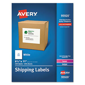 Full sheet White Shipping Labels Inkjet laser 8 1 2 X 11 White 250 box
