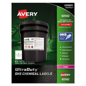 Avery Easy Peel Ultraduty Ghs Chemical Labels Laser 4 3 4 X 7 3 4white 100 box