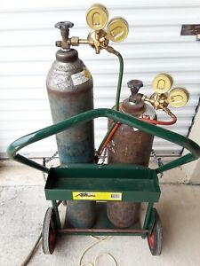 Oxy Acetylene Torch With Two Tanks Tank Regulators Cut Blow Torch And Cart
