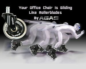 Rollerblade Style Wheels Office Chair Soft Casters Hard Floors 5pc Set