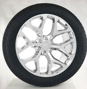 Gmc Yukon Denali Sierra 22 Chrome Snowflake Wheels Rims Tires Sensors Lug Nuts