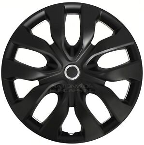 15 Black Set Of 4 Wheel Covers Snap On Full Hub Caps Fit R15 Tire