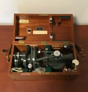 Vintage 1958 Hilger Watts Vernier Theodolite W Wood Case Parts Manual