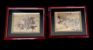 Pair Of Vintage Framed Matted Japanese Silk Embroidery Geishas Warriors