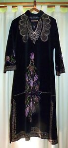 Antique Uzbek Handmade Embroidery Velvet Large Robe Dress Gorgeous