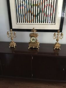 Antique French Guild Bronze Clock Garniture By S Marti Company