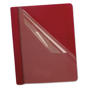 Oxford Premium Paper Clear Front Cover 3 Fasteners Letter Red 25 box