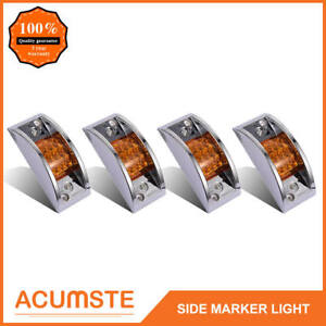 4x Amber Truck Trailer Id Side Marker Clearance Lights 12led Curve Sealed Chrome