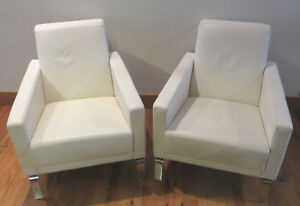 Boconcept White Leather Fly Lounge Chairs Pair Mcm Anders Norgaard Design