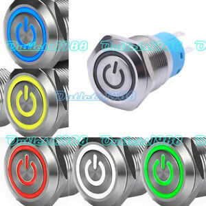 19mm 12v Led Metal Latching Momentary Push Button Switch 1no1nc Waterproof