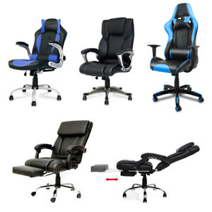 Gaming Chair Pu Leather Racing Office Executive Bucket Computer Desk Table New