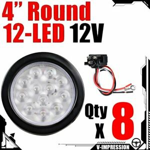 8x 4 Inch Red 12 Led Round Clear Lens Rear Stop Brake Tail Light Truck Trailer