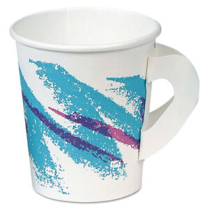Jazz Hot Paper Cups With Handles 6oz Polycoated Jazz Design 50 bag 20 ct